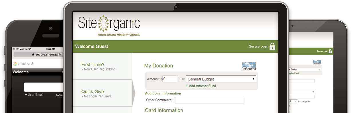 Online Giving & Mobile Giving from Site Organic
